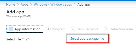 Apppackage file selection