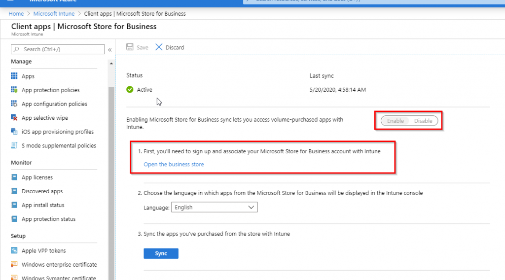Intune Settings Microsoft Store for Business