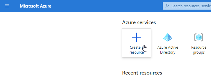 Create a resource Azure portal