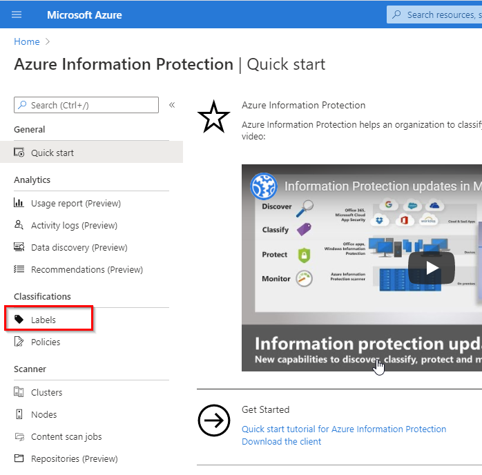Azure information protection labels