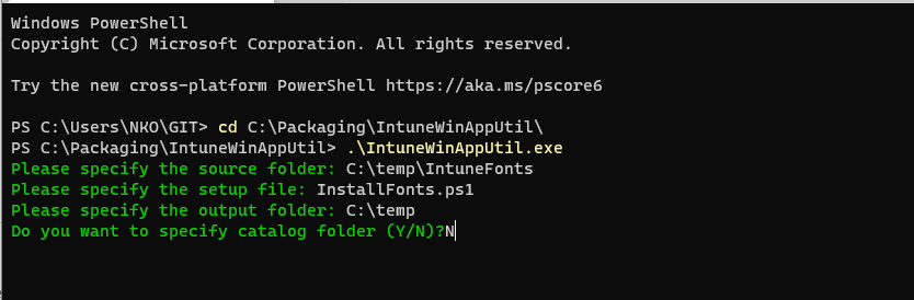 Powershell intune font deploy