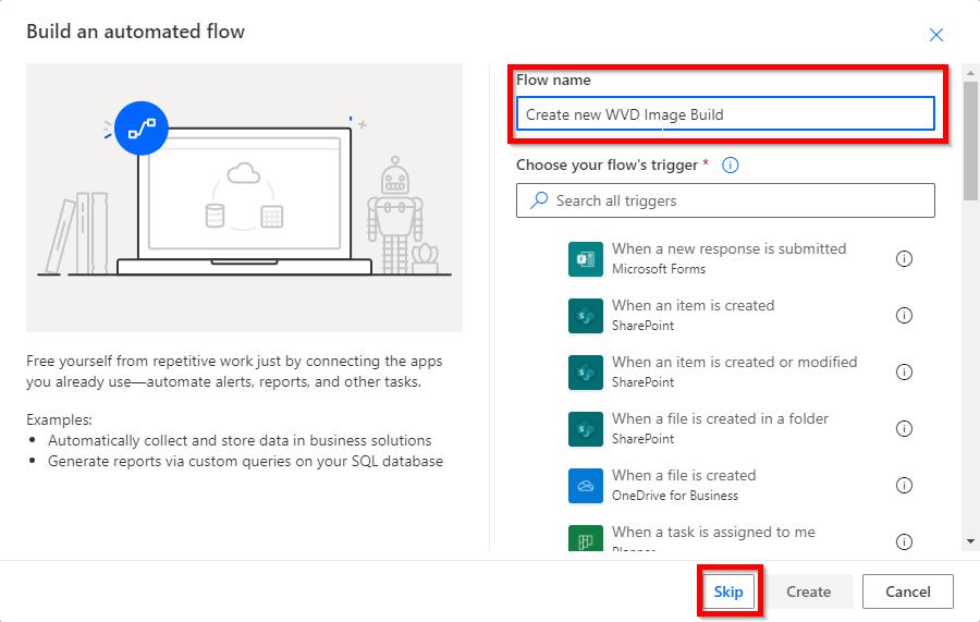 Flow name for WVD DevOps Build