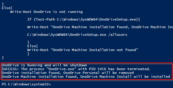 OneDrive machine install script deployment