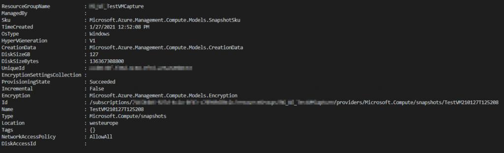 Output Snapshot managed disk