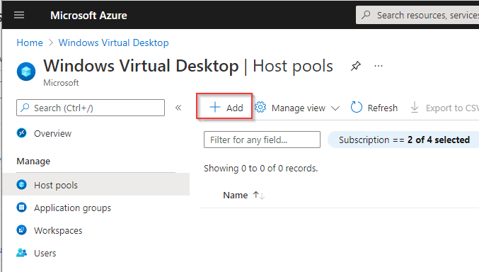 Create WVD Hostpool portal add
