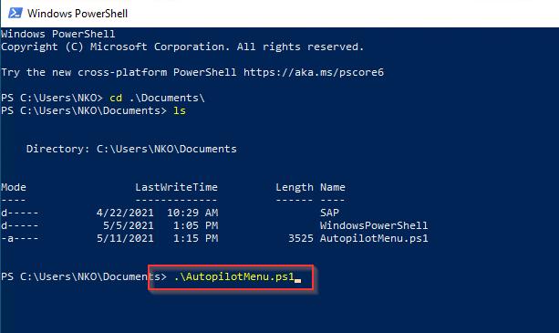 Autopilot devices menu script run