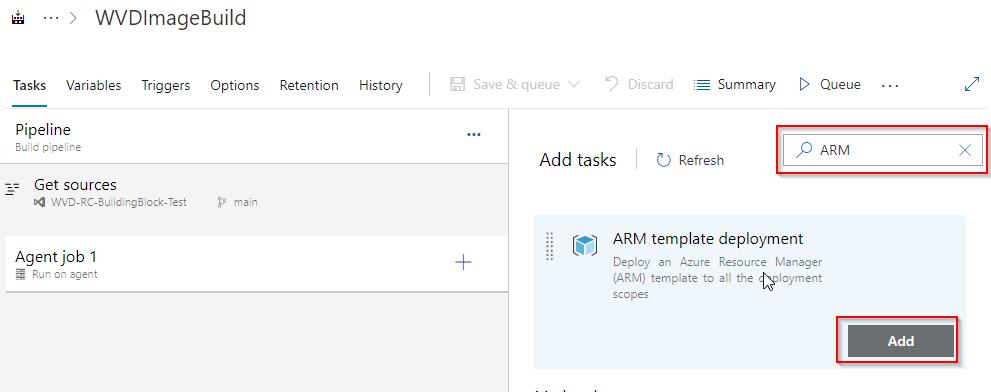 Windows 10 Image Series - Part 1 - Add ARM templatejob