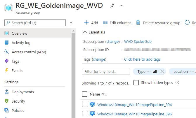 Windows 10 Image Series - Part 1 - Resource Group