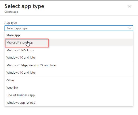 Deploy Single Microsoft Store App via Intune - Select the app type
