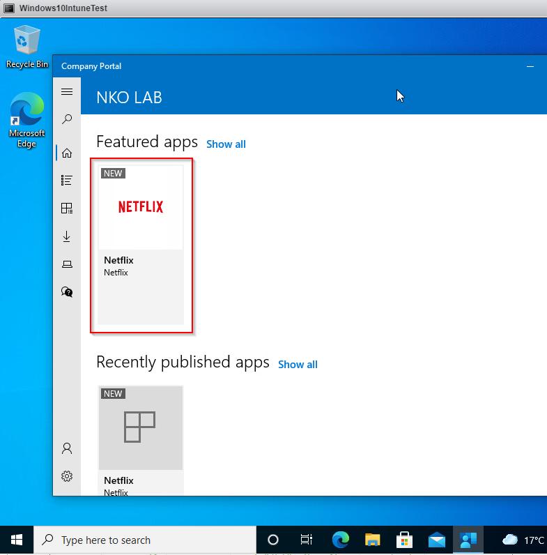 Deploy Single Microsoft Store App via Intune - Result