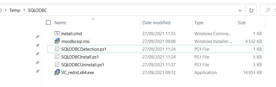 SQL ODBC Driver via Intune - Installation FIles