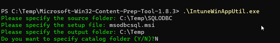 SQL ODBC Driver via Intune - Package build info