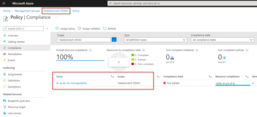 Deploy Azure Policy to ManagementGroup with Bicep - Management group assignment
